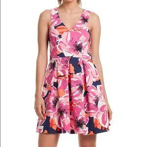 Trina Turk Floral Print V-Neck Fit & Flare Dress